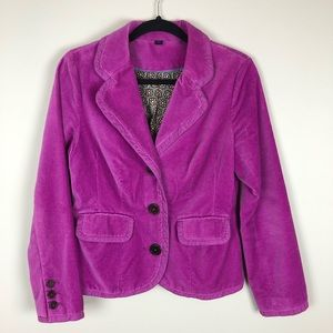 Boden Purple Magenta Velvet Button Blazer Jacket